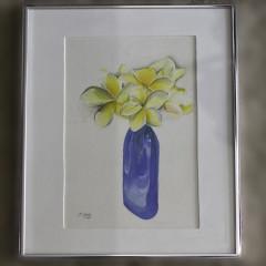 Plumeria in Cobalt Vase