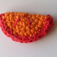 crocheted blood orange slice