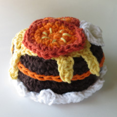 crocheted chocolate cake