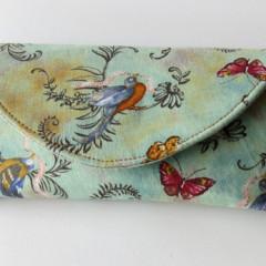 eye glass case birds and butterflies