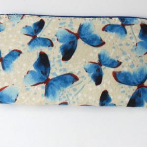 eyeglass case blue butterflies