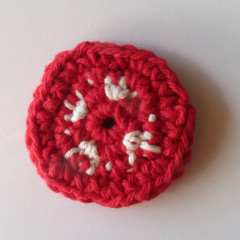 crocheted tomato slice