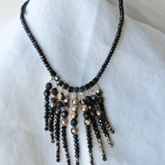 Black Fringe Czech Necklace