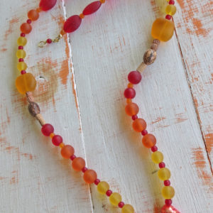 Orange and Red Sea Glass Necklace