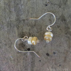 Pearl Button Drop Earrings