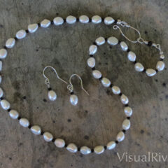 Freshwater Pearl Necklace Set with Black Crystals