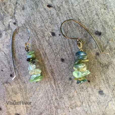 Fluorite and Emerald Drop Earrings