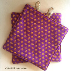 Purple and Gold Fleur-de-lis Potholders