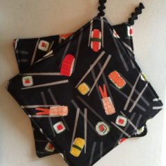 Sushi Print Cotton Potholders