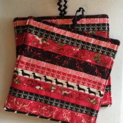 Dachshund and Roses Cotton Potholders