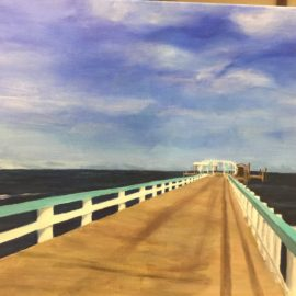 Bokeelia Fishing Pier, acrylic on canvas
